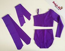 4 Pce Bright Purple Lycra Dance Age 5-7 High Waisted Briefs/Cropped Top Beginner