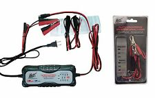 Moto Car Truck AUTOMATIC SMART BATTERY CHARGER 12v 24v & Car Battery Tester