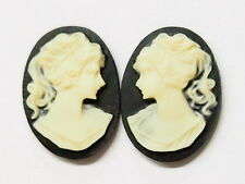 6 of 18x13 mm Cream over Black Paired Victorian Art Deco Ponytail Woman Cameos