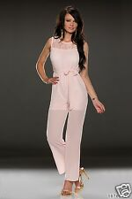058 STUNNING PARTY SEXY JUMPSUIT SLEEVELESS LINING LACE OVERALL WITH BELT