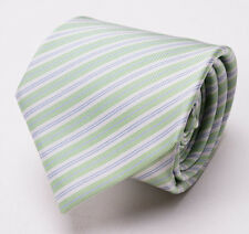 New $215 MATTABISCH NAPOLI by KITON Multi-Fold Silk Tie Green-Lavender Stripe