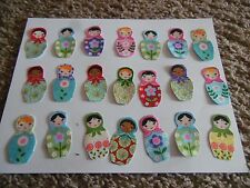21 Little Russian Dolls Iron on Fabric Appliques