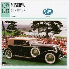 1927-1933 MINERVA 32 CV Type AK Classic Car Photograph / Information Maxi Card