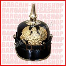 German Leather Prussian Pikelhaube Helmet WW1 WW2 officer costume Hat Larp y1