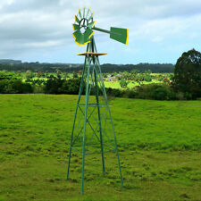 8 FT Outdoor Metal Windmill Yard Garden Decoration Wind Mill Green And Yellow