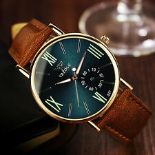 Vintage Men's Date Leather Stainless Steel Sport Quartz Noctilucent Wrist Watch