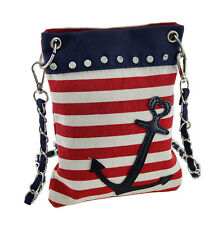 Red White and Blue Striped Nautical Anchor Crossbody Purse