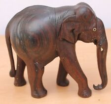 Vintage Finely hand crafted One Piece wood Elephant Figure