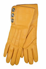 [83 12] COACH NWT WOMEN HONEY YELLOW 82825 TURN LOCK LEATHER CASHMERE GLOVES 6.5