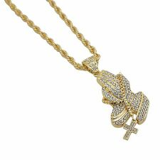 14k Gold Plated Iced Out Hip Hop Bling Praying Hands Cross Rosary Pendant Chain