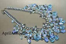 Vintage Cristobal London blue swarovski crystal star tassel drops bib necklace