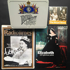 4x QUEEN ELIZABETH items Silver Jubilee 77 Stationery Tin RADIO TIMES Windsor CD