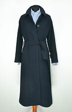 Burberry Vintage Womens Trench Coat Jacket Wool Cashmere Navy Blue SZ 8UK