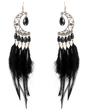 F2376 black downy Feather earrings bead bronze moon cute hook dangle ornament
