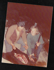 Vintage Photograph Two Men With Rifle & Knife Skinning Black Bear - Hunting