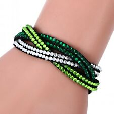 LOVELY LEATHER Slake BRACELET MADE WITH SWAROVSKI CRYSTALS - GREEN CLEAR WOVEN