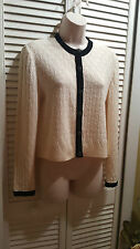 St. John Evening Sweater Cardigan Ivory Black Size