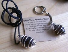 APACHE TEARS KEYRING & HANGING PENDANT - GENUINE ROCKS - TWO ITEMS (GIFT PACKED)