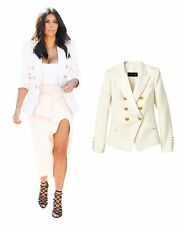 BALMAIN x H&M White Double Breasted Wool Satin Blazer Jacket EUR 34 US 4 UK 8