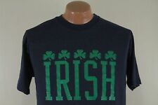 Vintage IRISH T Shirt - Ireland Heritage Shamrock 50 50 80s Blue - Men's XL Slim