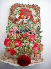 Vintage Victorian Antique Pull Down Valentine Cupid, Large Die Cut Pink Roses *
