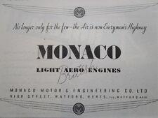 3/1946 PUB MONACO MOTOR BRITISH LIGHT AERO ENGINES MOTEUR AVIATION ORIGINAL AD