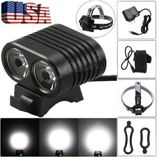 8000LM 2x CREE XM-L2 LED Cycling Front Bicycle Bike light Headlight Headband Set