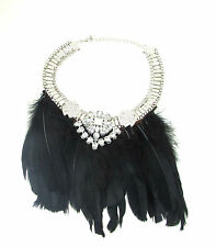 Black Silver Feather Necklace 1920s Great Gatsby Flapper Vintage Diamante 30s 95