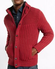 new soldout MENS EXPRESS sherpa lined cardigan sweater s valentines red $148.00