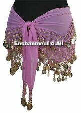 New Handmade Exotic Belly Dance Hip Scarf Wrap w/ Golden Beads & Coins, Lavender