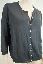 BRORA Charcoal Grey Linen & Cotton Blend Round Neck Sheer Cardigan Top UK16