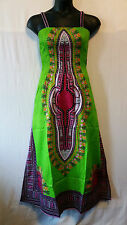 Women African Tradition Dashiki Print SunDress Kaftan Maxi Plus size Lime