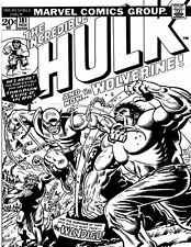 "MARVEL INCREDIBLE HULK #181  COMIC BOOK (2.5"" X 3.5"" FRIDGE MAGNET) B&W SKETCH"