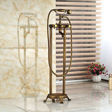Flower Mount Free Standing Bathtub Faucet Antique Brass Mixer Tap Hand Shower