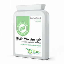 Biotin 10000mcg 120 Tablets - Max Strength Hair Nail Skin and Stress Support