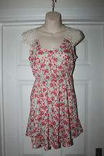 Ladies Pretty Pink Floral Summer Dress with Lace & Crocheted Shoulders Size 8
