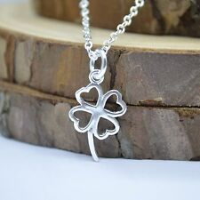 """Solid 925 Sterling Silver Small Cute 4 Leaf Clover Pendant 17.7"""" Chain Necklace"""