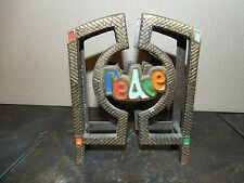 Vintage 1970 Terra Sancta Guild Israel Metal Peace / Shalom Napkin Holder
