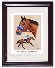 AMERICAN PHAROAH BIG HORSE RACING FRAMED ART TRIPLE CROWN WINNER Kentucky Derby