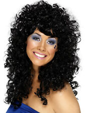 Women's Boogie Babe Curly Black Wig 70's 80's Cher Hen Disco Fun Fancy Dress