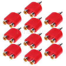 10PCS RCA Y Splitter AV Audio Video Plug Converter  Cable Adapter-RED