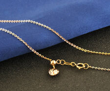 FINE 18 INCH Solid 18K Multi-Tone Gold Necklace 1.1mm O Link Chain Au750
