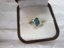 GORGEOUS ESTATE 14 KT GOLD .79 CTW VIVID BLUE DIAMOND RING !!!!!!!!!!!!