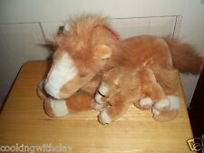 RARE WEISS GERMANY PLUSH DOLL FIGURE BROWN CUTE MOTHER HORSE & BABY FOAL TOYS