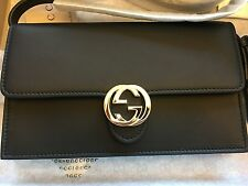 New Gucci Women's  BLACK Leather  Crossbody Purse W/Wallet Interior