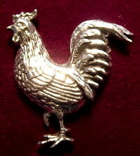Lovely Pewter Chicken Rooster Cockerel  Pin Brooch
