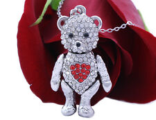 Clear Crystal Be Mine Teddy Bear Red Heart Pendant Necklace Jewelry n2047v