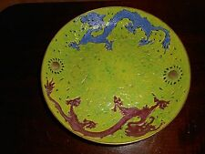 A VERY RARE CHARTREUSE  DISH W/ DRAGON DECORATION MING DYNASTY 1368-1644