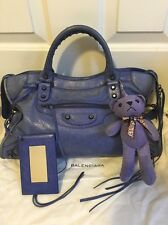 Authentic BALENCIAGA Classic City Blue Hand Bag Leather