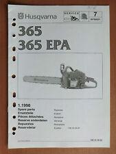 Ersatzteilliste HUSQVARNA Motorsäge Kettensäge 365 + EPA chain saw 1998 Zama